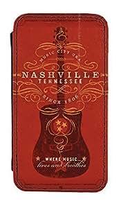 Déguisement ® Nashville guitare Rouge iPhone 5 5S PU cuir-Étui à rabat