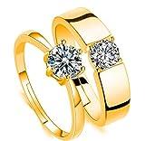 #5: Attractive Swarovski Crystal 24KT Gold Adjustable Couple Rings