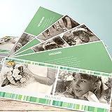 Danksagungen Kommunion, Alte Fotos 200 Karten, Kartenfächer 210x80 inkl. weiße Umschläge, Grün