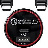 BC Master Carga rápida Cargador de coche movil 34.5W 2 Puertos del USB-C, [QC 3.0 tipo C + 5V / 3A USB] para Samsung Galaxy S8 S8 Edge, Oneplus 2 3 Google Nexus 6P 5X Lumia 950 950XL Nintendo Switch con un cable de tipo C - Negro (QC 3.0)