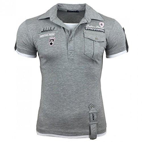 Herren T-Shirt Mix Motive Strass Steine Style Rundhals Kurzarm S M L XL XXL NEU 301 Grau/Weiß