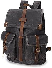 6b163df10b187 Sunbobo Männer Frauen Rucksack Daypack Vintage Wasserdichte Reißverschluss  Leinwand Reisetaschen Laptop Student Outdoor-Shopping