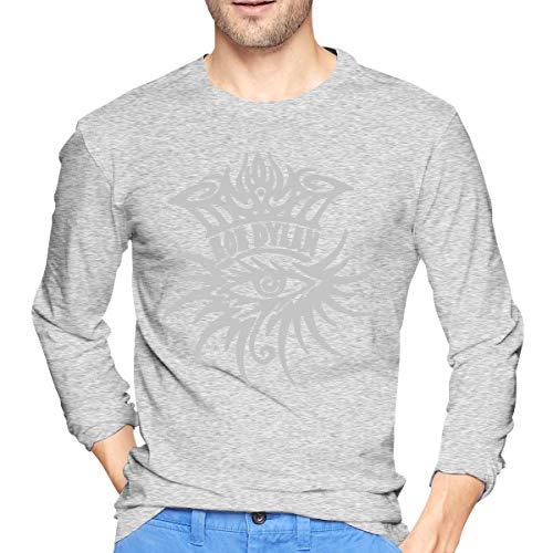 Herren BobDylan-Eye Logo Logo Print T-Shirt für Herren Tee T Shirt Langarm Tshirt mit Rundhalsausschnitt Kleidung Grau S -