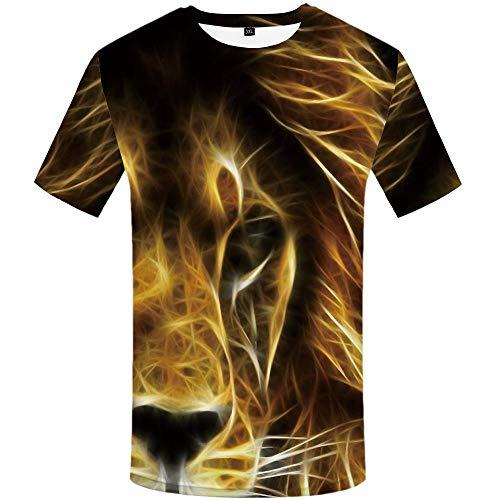 Luotears 3D Tiger T-Shirt Grün Kleidung Herrenbekleidung Druck Rundhalsausschnitt Sad Tiger Cool Animal Bamboo Forest @ XXL_Hongrui