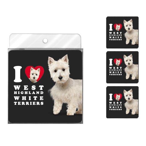 Tree-Free Greetings nc39140I Heart West Highland Weiß Terrier 4er Pack Künstlerische Untersetzer Set -