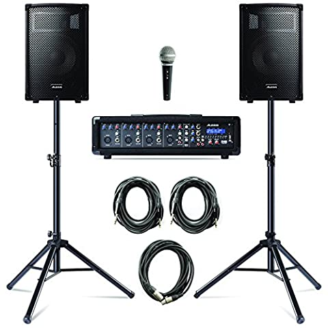 Alesis PA System in a Box Bundle 280 W with a 4-Channel Powered Mixer/2 Speakers with Stands/Microphone and 3