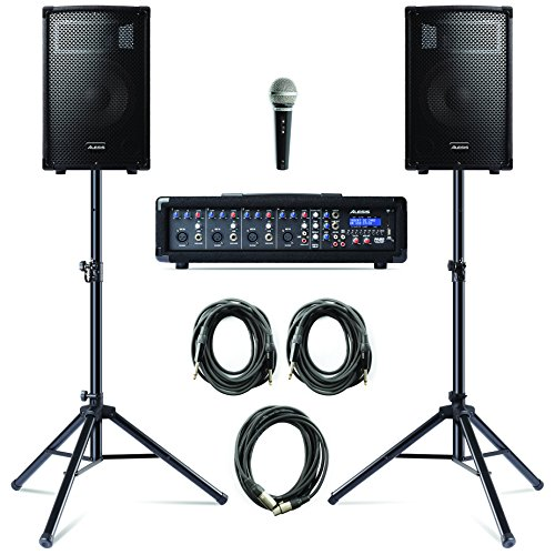 alesis-pa-system-in-a-box-bundle-280-w-with-a-4-channel-powered-mixer-2-speakers-with-stands-microph