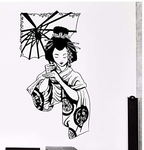 (Mrlwy Vinyl Wandtattoo Japanische Geisha Fallschirm Show Vintage Interior Wohnzimmer Kunst Aufkleber 42X76 Cm)
