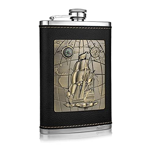 GENNISSY Pocket Hip Flask 8 Oz with Funnel - Stainless Steel withLeather Wrapped Cover and 103% Leak