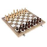 Asdflina Magnetische Reise Schachspiel 3 In 1 Schach Dame Backgammon Set für Erwachsene Kinder Folding Portable Schachspiel Traditionelles Schachspiel Anfänger großes Schachbrett