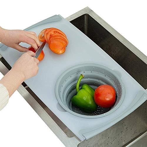 HCDMRE Multifunktions-Schneidebrett 3 IN 1 Gemüse-Klappkorb über dem Waschbecken Abfluss für den Haushalt Abnehmbares Sieb Kunststoff-Schneidebrett für den Amboss Aufbewahrungskorb (über Waschbecken Für Dem Schneidbretter)