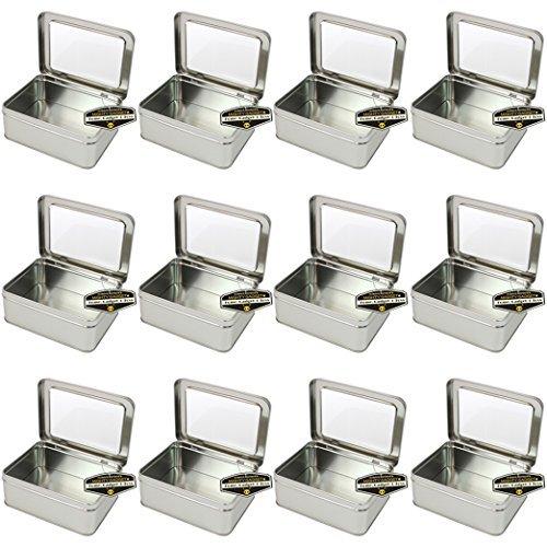 chteckig leer Scharnierdeckel Survival Tin Container mit siehe durch Fenster Top für Geocaching oder Survival Gear (12Stück)-14,3x 10,8x 5,4cm ()