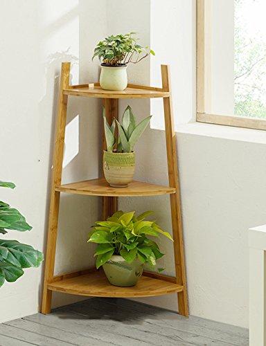 $Etagère d'exposition Support de fleur en bois massif Coin d'angle Balcon Salon Plancher d'intérieur en bois ( Couleur : A , taille : 50*35*147 )