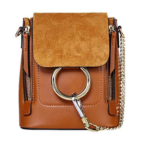 ZY Echtes Leder Damen Tasche Mehrzweck Damen Rindsleder One Shoulder Slung Ring Rucksack,Caramel-OneSize - Brieftasche Mehrzweck