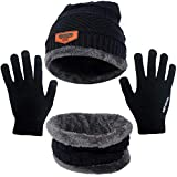 Unisex Hat Scarf and Gloves Set,Warm Knit Slouch Beanie Hat Skiing Neck Warmer Scarf and Touchscreen Gloves for Winter Outdoor Sports