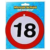 Preis am Stiel 1 x Geburtstags Metall-Schild mit Saugnapf 18