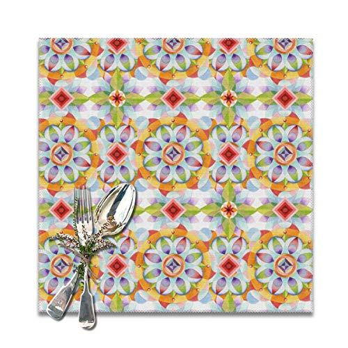 chenchanggende Beaux Arts Kaleidoscope Table Placemats for Dining Table Wipeable Placemats Washable Table mats Heat Resistant Set of 6 (Bella Coffee Pot)