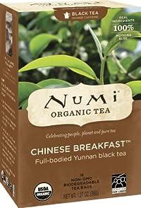Numi Organic Tea Chinese Breakfast, Full Leaf Black Tea, 18 Count Tea Bags (Pack of 3)