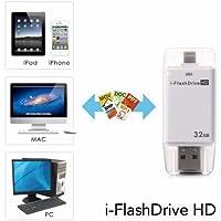 emart Teléfono Móvil 32Gb unidad flash USB I de HD de flash memory stick Pen Drive para ordenador, IPhone & iPad Series (Flash Connector) y Android de serie (con–Interfaz de conversión de cord)–Color Blanco