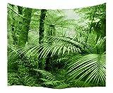 A.Monamour Wanddekor Wandbild Vorhang Wandteppiche Tropische Palme Blatt Grün Wald Wilden Dschungel Natur Landschaft Fotodruck Stoff Wandteppich Wandbehänge Für Schlafzimmer 203x153cm