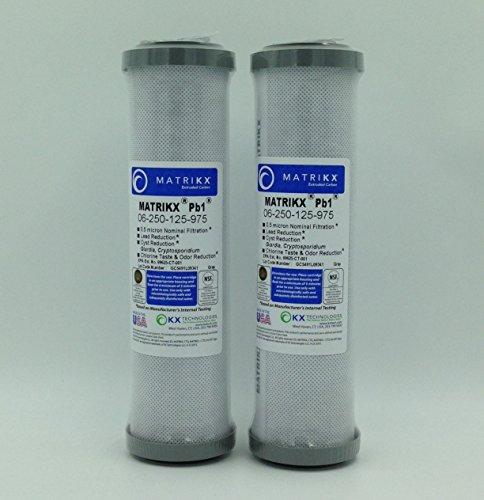 KX Matrikx PB1· 25,4cm Länge extrudiertem Carbon Block Filter Kartusche, 2er Pack - Block-filter