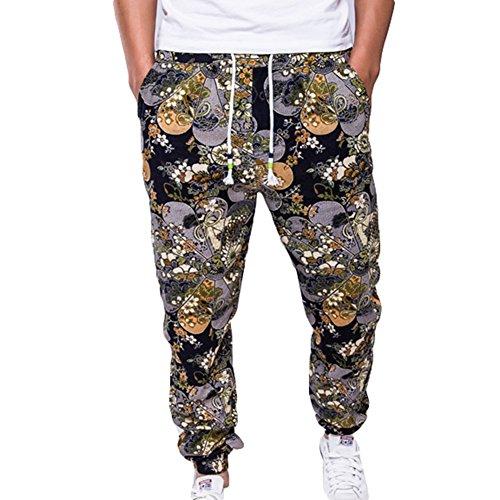 Männer Hosen Modern Sweathose Herren Baggy Pants Joggingshose Sportswear Freizeithose Trainingshose Druck Fitness Hose Soffhose Bunt 2XL junkai