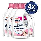 Sagrotan Wäsche-Hygienespüler Sensitiv - Desinfektionsspüler für hygienisch saubere und frische Wäsche - 4 x 1,5 l Reiniger im praktischen Vorteilspack