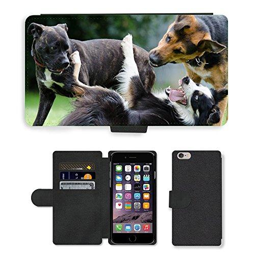 Just Mobile pour Hot Style Téléphone portable étui portefeuille en cuir PU avec fente pour carte//m00139234Border Collie hybride Funny//Apple iPhone 6Plus 14cm