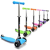 3Style Scooters® RGS-1 Little Kids Three Wheel Kick Scooter In Blue - Perfect for Children Aged 3+ - LED Light-Up Wheels, Foldable Design, Adjustable Handles & Lightweight Construction