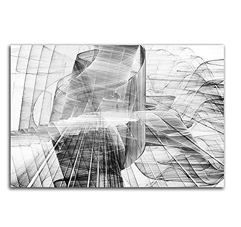 Blasse Sehnsucht - Abstrakt378_100x70cm Bild auf Leinwand Abstraktes Motiv einteiliges Dekobild schwarz weiß grau Kunstdruck auf Keilrahmen