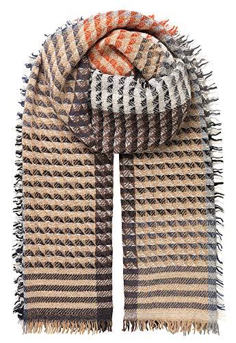Becksöndergaard Schal Damen Winter Idun Blue Warmer Winterschal Streifen Hahnentritt Orange- und Brauntöne Wolle Polyamid Mix 65 x 190 cm - 1907742004-219