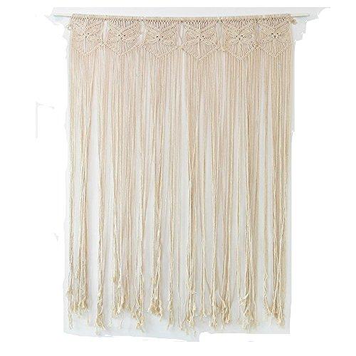 Cortina para puerta o pared de macramé, estilo bohemio, cuerda de tejido trenzada a mano