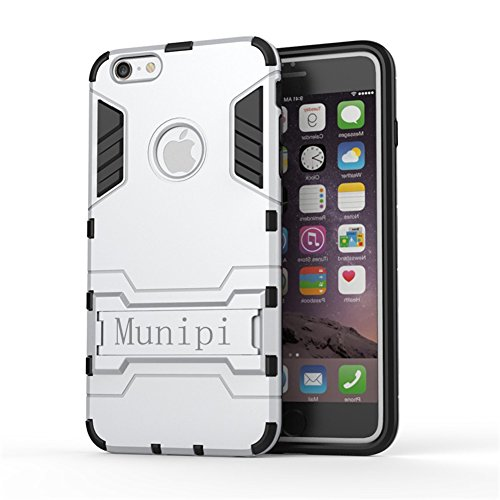Munipi Schutzhülle für iPhone 6 / 6S / 6Plus / 6S mit Ständer, Hybrid Weich und stoßfest, strapazierfähig, inkl. Displayschutzfolie, plastik, Goldfarben, iPhone 6/6S (4.7) silber