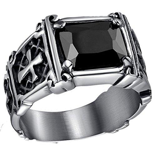SonMo Ring 925 Breit Herren Ring Silber Schlicht Quadrat Herren Ring Vintage Schwarz 12Mm Eheringe 2 Im Set für Männer 60 (19.1)