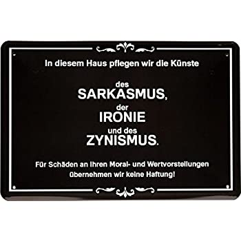 Blechschild 20 x 30 cm Sarkasmus Ironie Zynismus witziger