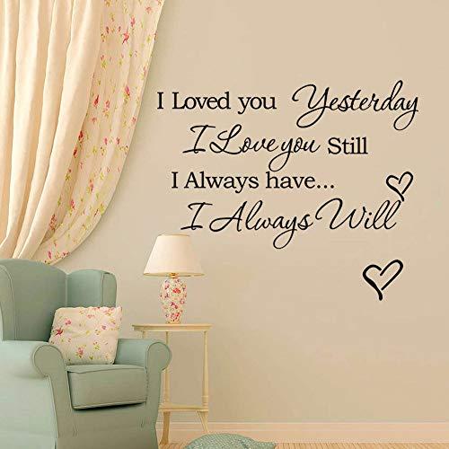Yyoutop Romantisches Zitat DIY Wandtattoo Ich Liebe Dich Gestern Immer Wird Noch Schriftzug Vinyl Zitate Kunst Aufkleber Schlafzimmer 1 42x27 cm