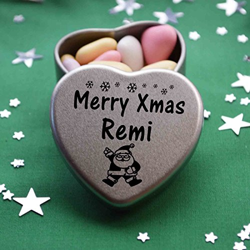 efd2c47adb3 Merry Xmas Remi Mini Heart Gift Tin with Chocolates Fits Beautifully in the  palm of your hand. Great Christmas Present for Remi Makes the perfect  Stocking ...