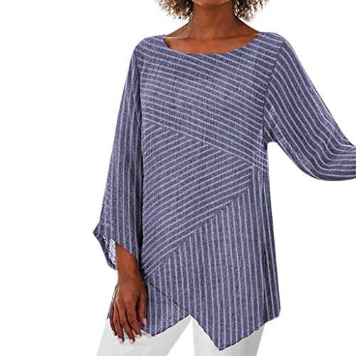 VWsiouev Frauen Plus Size Striped Print Oansatz Langarm Casual Lange Tunika Tops T-Shirt Bluse Shirt Bluse