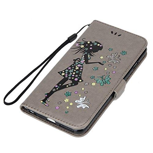 Custodia Cover per iPhone 7/8, Ukayfe Luxury Puro Colore Glitter Modello Goffratura Fiore Farfalla e Ragazza Cristallo 3D Design Bumper Slim Folio Protectiva Lussuosa PU pelle Custodia Flip Cover per  Grigio