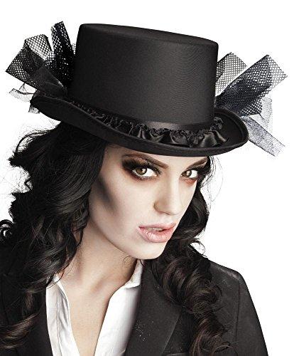 Eleganter schwarzer Damen Zylinder-Hut mit Tüll Gr. 58 Halloween Geist
