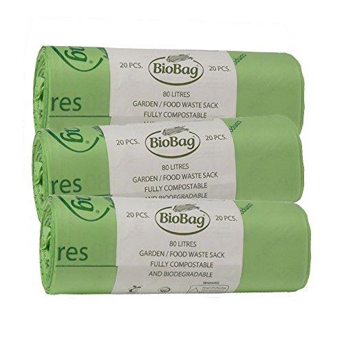 80 litri sacchi biodegradabili e biodegradabili da giardino, per rifiuti da cucina Caddy Bin Liner sacchetti (80L) EN13432 certificato
