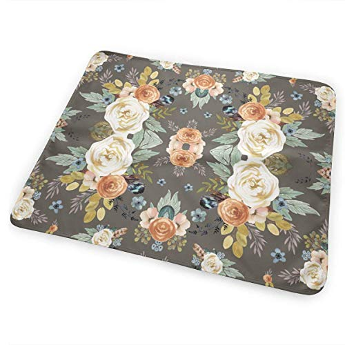 Voxpkrs Western Autumn More Florals Taupe Baby Crib Pee Changing Pad Mat Mattress Protector for Toddler Kids Infant Pets