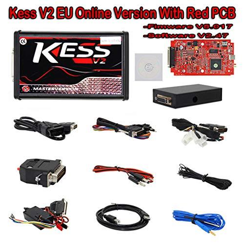 wyxhkj V2.47 Kess V2 OBD2 Manager Tuning Kit Auto Truck Diagnose-Tool Set ECU Programmer Kess V2 V5.017 Online Version No Tokens Limitation (Rot) -