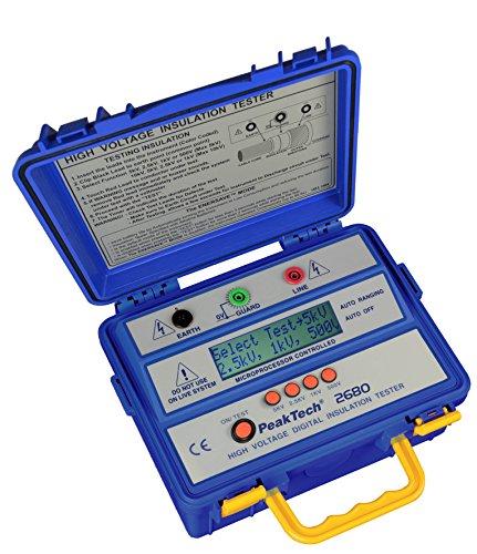 PeakTech 2680 - Digitales Isolationsmessgerät mit autom. Bereichswahl, Professionelles Messgerät, Messungen nach VDE 0413, DC-Prüfspannung 500V/1000V/2500V/5000V, Überspannungsschutz, Schutzschaltung