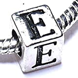 Silver Plated Letter E Alphabet Initial Charm Bead for Charm Bracelets