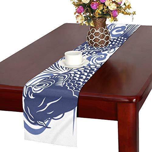LIANGWE Günstige Koi Tischläufer Küche Esstisch Läufer 16 x 72 Zoll für Dinner Parties Events Decor