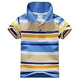 BOBORA estivo da bambino, a maniche corte, di cotone, per vestiti, Tops-Maglietta Polo da uomo a righe B XXL
