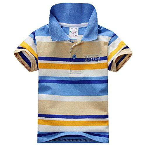 Jungen Polo Shirt Gestreift (ESHOO scherzt Jungen-Mädchen-kurzes Hülsen-gestreiftes T-Shirt Polo-Hemden Sommer 1-7 Jahre)