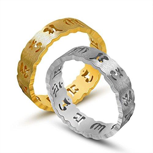 Bishilin Schmuck Titan Herren Damen Ring Hohl SIX Mantra (Om Mani Padme Hum) Rund Freundschaftsring Gold Titanring Größe 57 (18.1)