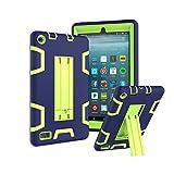 TianTa Custodia Fire 7 2017 Case Custodia Ibrida Tre-Strati Cover Silicone + PC Protettiva Case con Supporto per Fire 7-inch Tablet (7th Generation, 2017 Release) - Blu Navy/Olivina